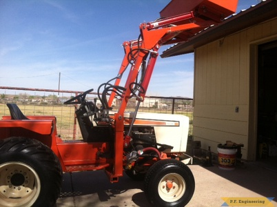 simplicity powermax 9020 compact tractor loader right side raised bucket
